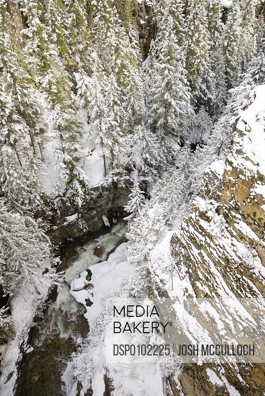 A Snowy River Gorge, Revelstoke, Bc, Canada