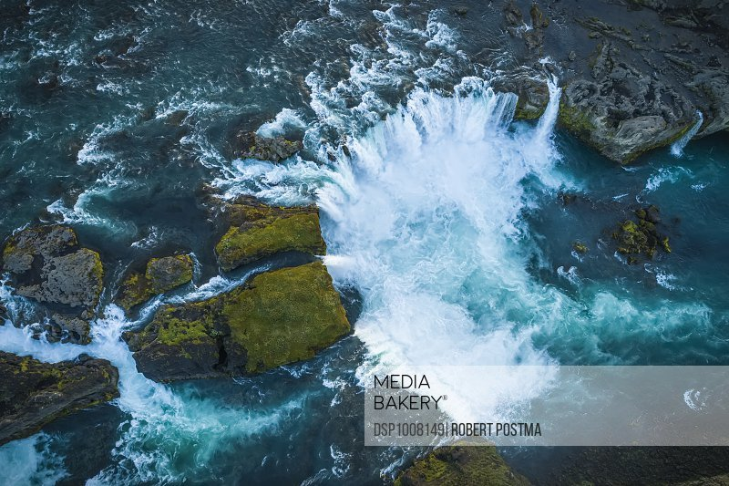 Aerial view of Godafoss, also known as 'Waterfalls of the gods'; Iceland