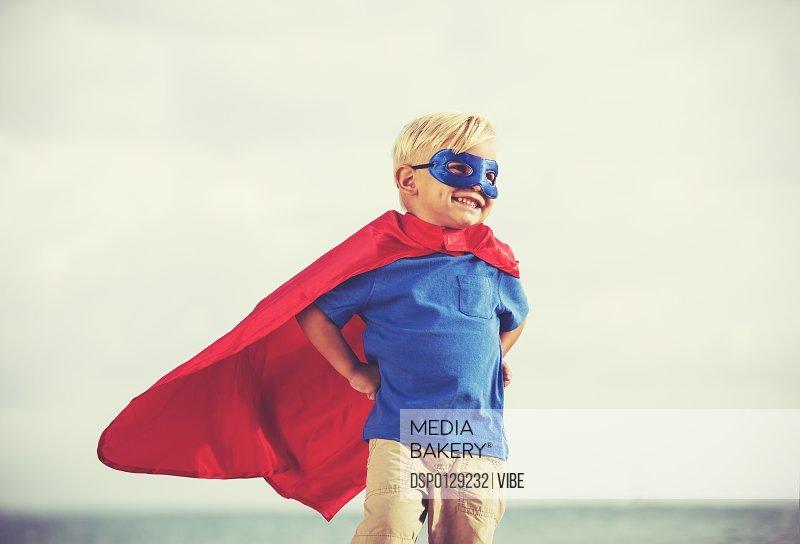 Superhero Kid, Young Happy Boy Playing