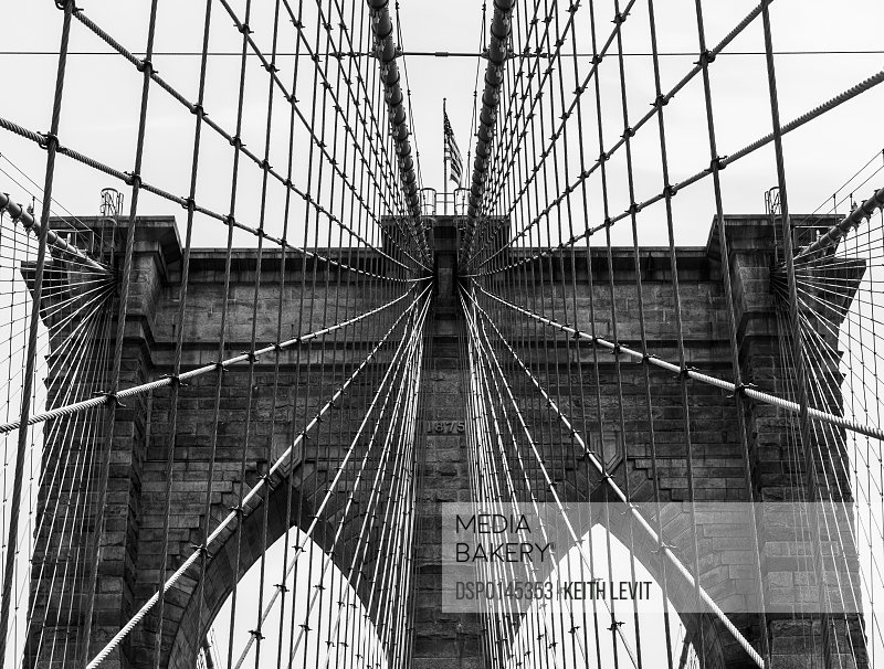 Grid pattern of supports on the Brooklyn Bridge; New York City, New York, United States of America