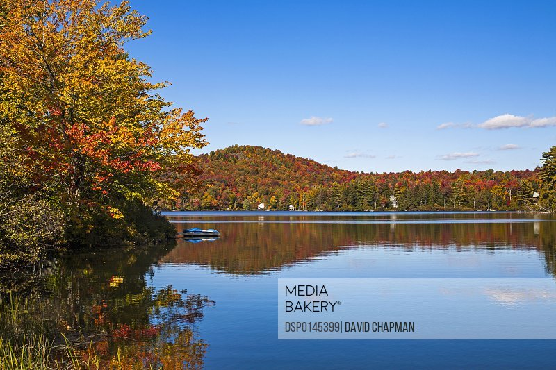 Autumn coloured trees around a lake; Sugarloaf Pond, Quebec, Canada