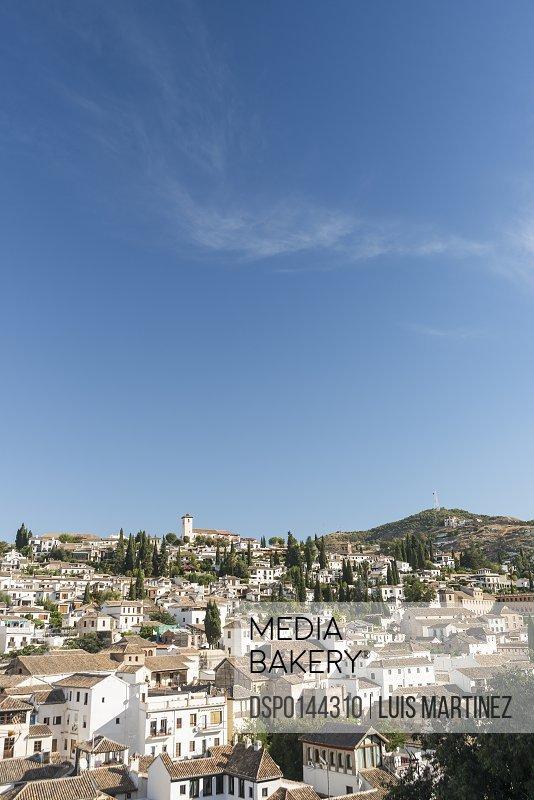 Beautiful view of Albaicin neighborhood and Sacromonte; Granada, Andalucia, Spain