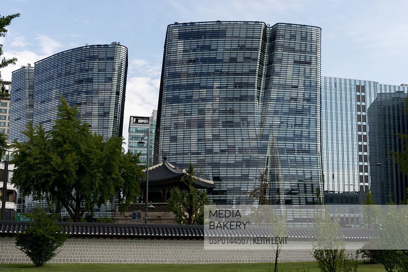 Unique residential buildings with a window facade that looks curved; Seoul, South Korea