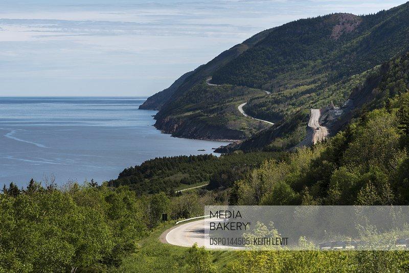 A road winding along the coastline, Cape Breton Highlands National Park; Petit Etang, Nova Scotia, Canada
