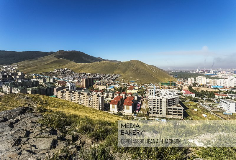 New housing in UB City at the foot of Zaisan Hill. It is hoped that some people from the Ger district will move into this area so that they will have access to public utilities; Ulaanbaatar, Mongolia