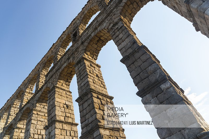 Segovia's Aqueduct is one of the architectural symbols of Spain, built in the 2nd Century A.D; Segovia city, Castilla Leon, Spain