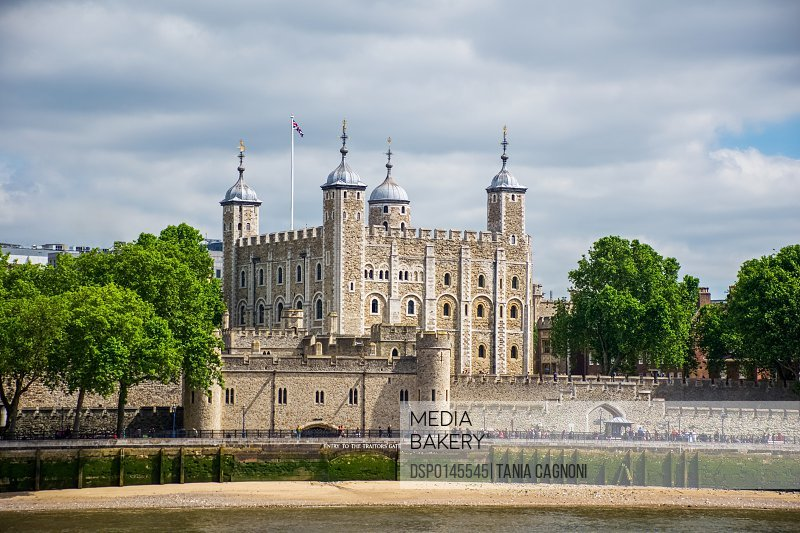 View of the Tower of London from the River Thames; London, England