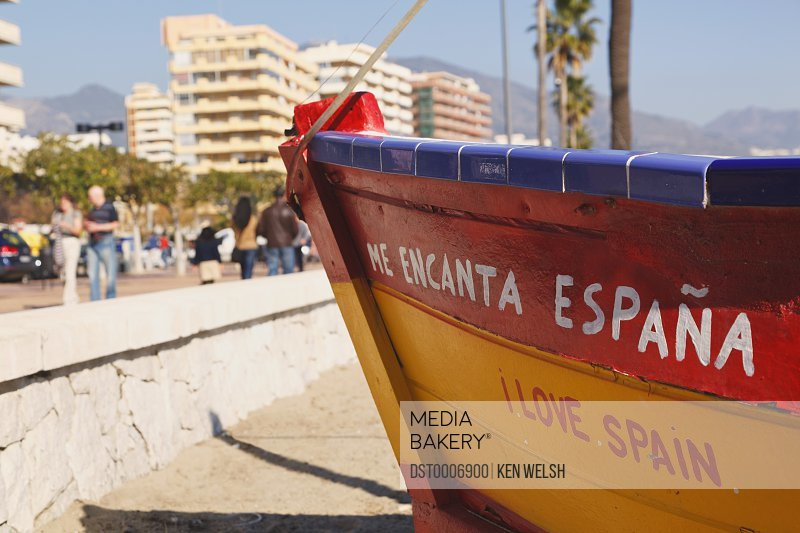b54c831edaa8e7 ... Costa Del Sol, Spain stock photo. Fishing Boat On Beach With Slogan Me  Encanta Espana, Or I Love Spain Los Boliches