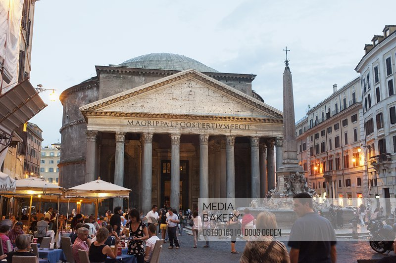 The Pantheon in the Piazza della Rotunda, and the Fontana del Pantheon, surmounted by an Egyptian obelisk; Rome, Italy