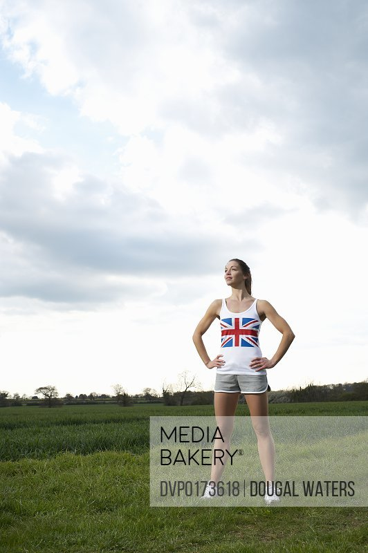 Female athlete in Union Jack T-shirt