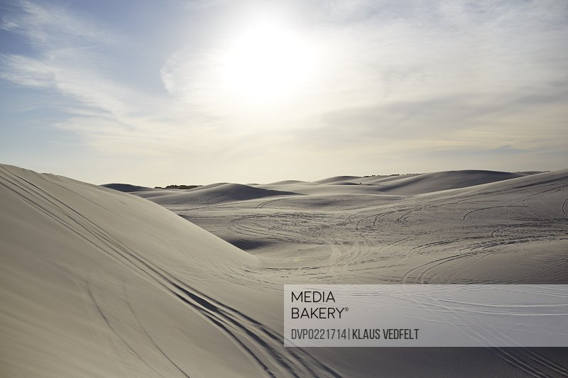 Sand dunes with 4x4 wheel tracks at sunset