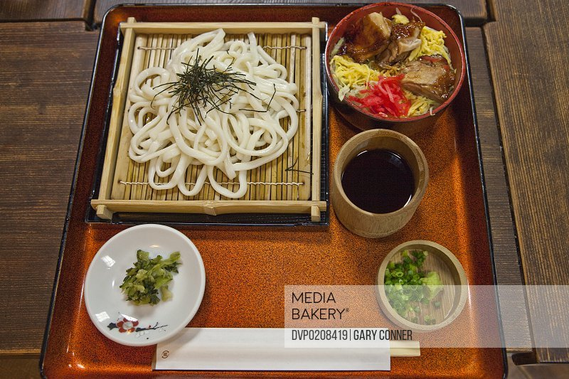Japanese cold udon noodles with chicken bowl