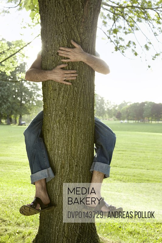 man embracing tree
