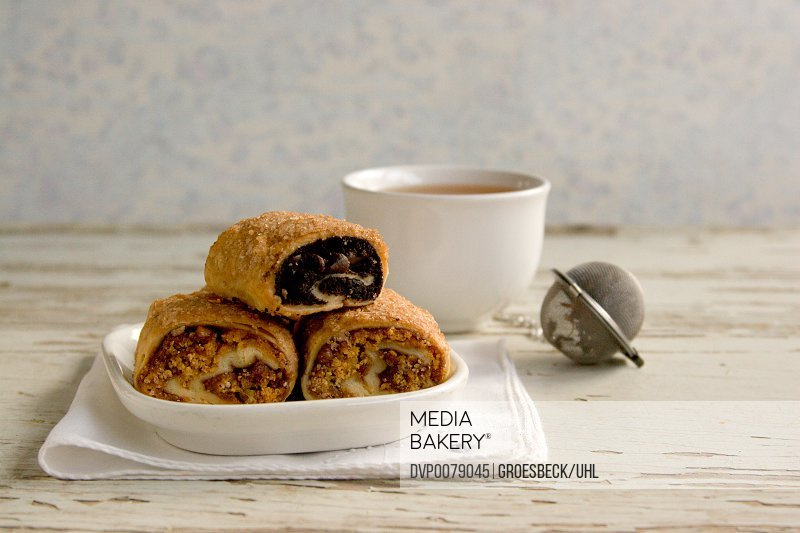 Cup of tea with rugala pastries