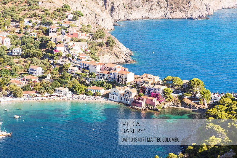 Town of Assos with colorful houses in summer