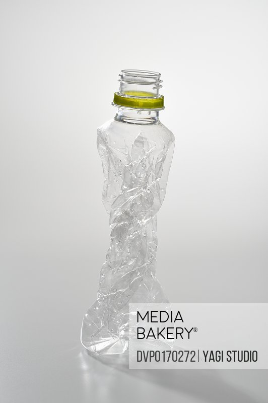 A crushed PET bottle