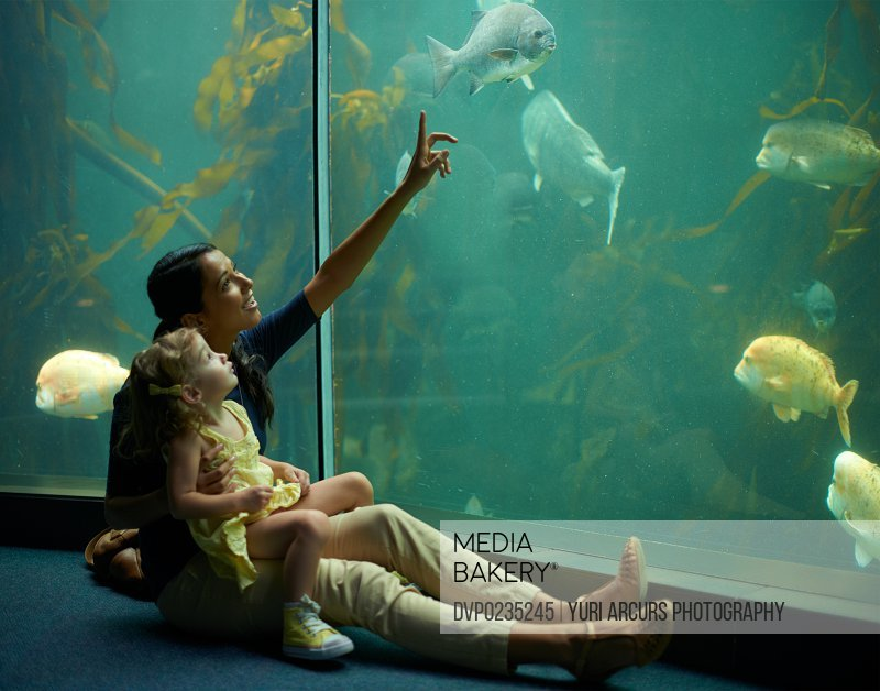 A mom and daughter spend time looking at the fish at the aquarium