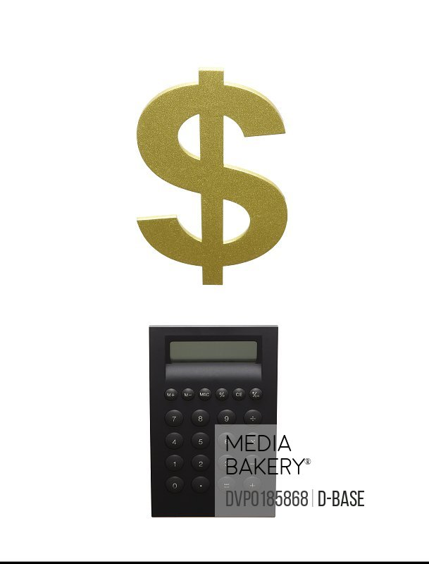 A black calculator and a dollar sign