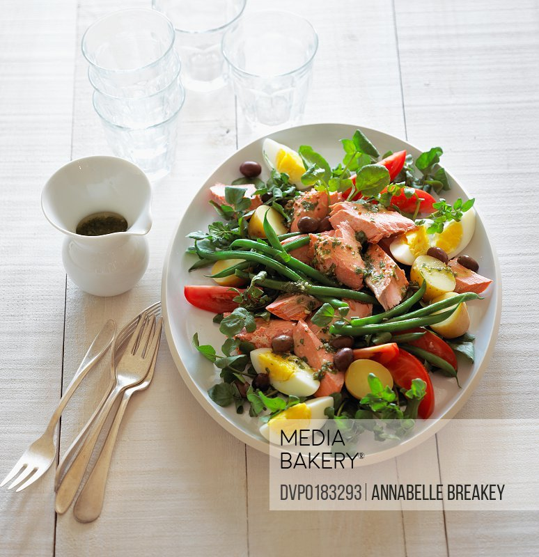 Reinvented traditional Nicoise with Salmon instead of Tuna