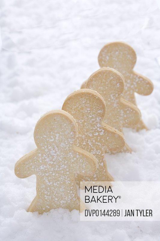 Christmas sugar cookies in snow