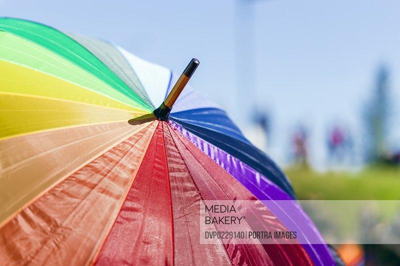 Colorful umbrella in gay pride parade