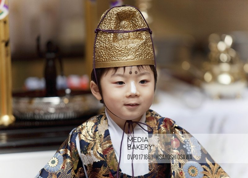 young japanese boy wearing traditional celebrator