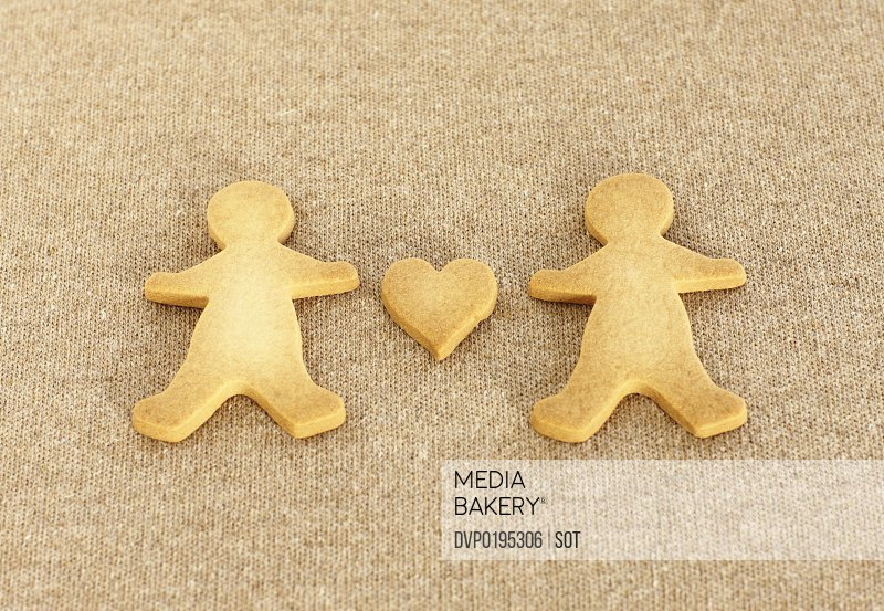 Gingerbread man with heart cookie