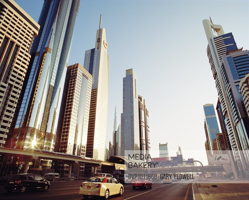 Skyscrapers along Sheikh Zayed Road at sunset