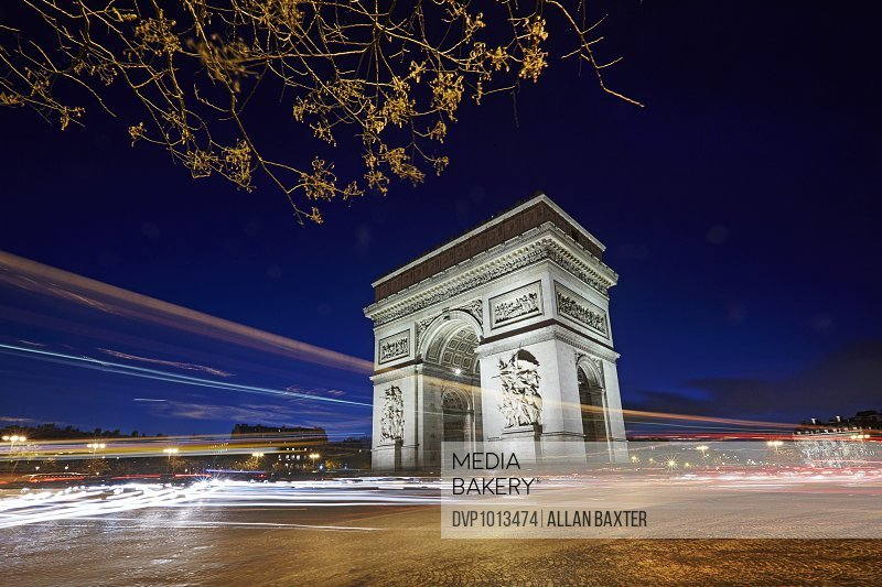 Arc De Triomphe illuminated at night