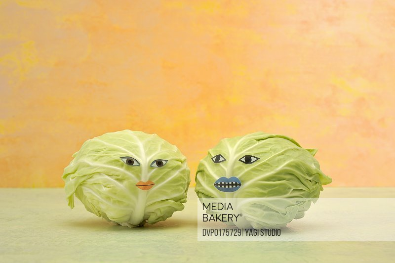 Two cabbages with the face