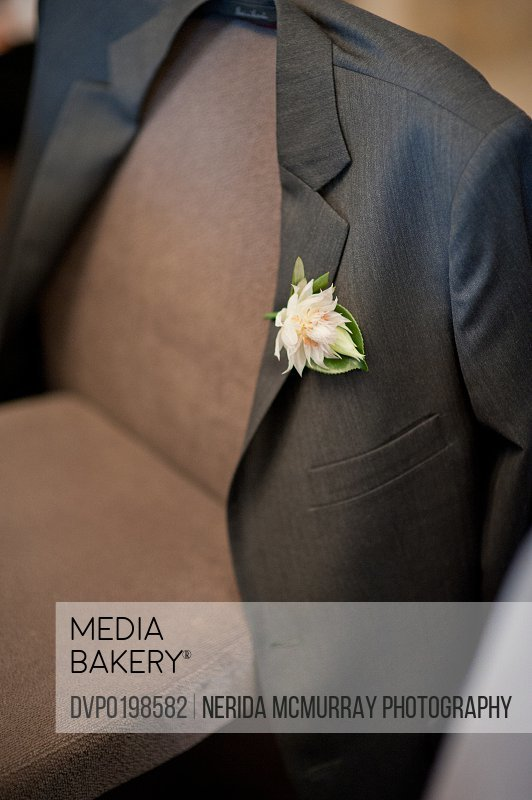 Groom's suit jacket with buttonhole