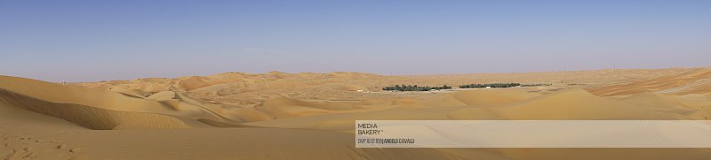 Panoramic view of an oasis in a desert