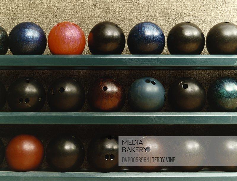 Still Life of Bowling Balls on a Shelf