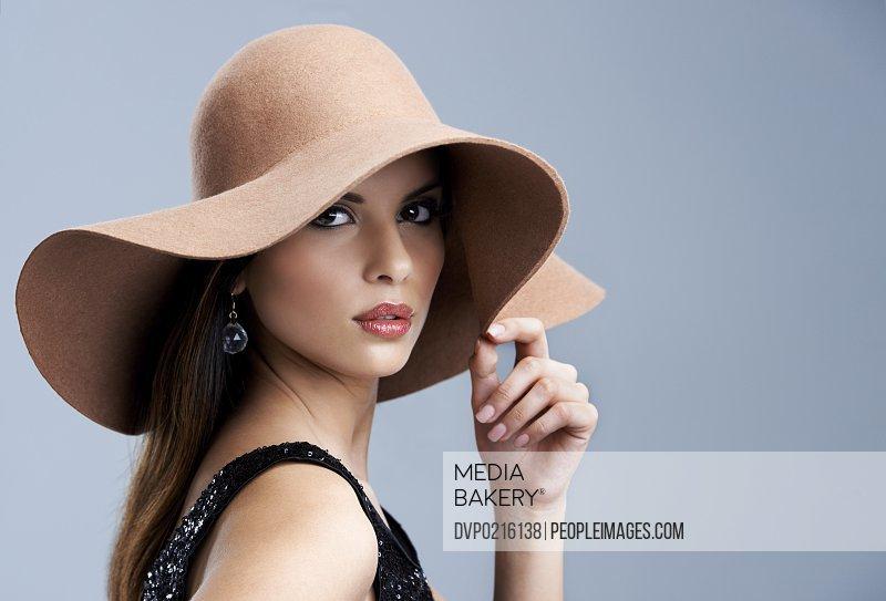 Head shot of a glamourous female fashion model