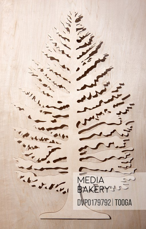Graphic image of wooded tree cut out on pine background