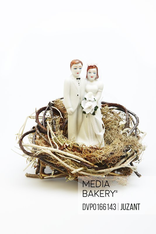 Ceramic bride and groom figurine in a nest