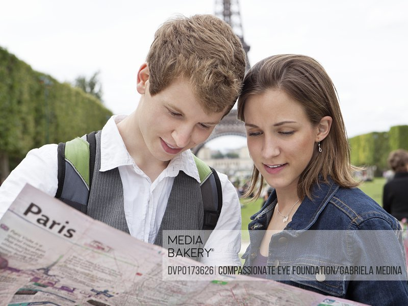 Couple looking at street map