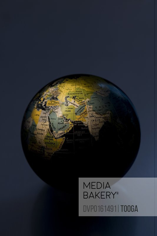 Globe with spotlight on the Middle East