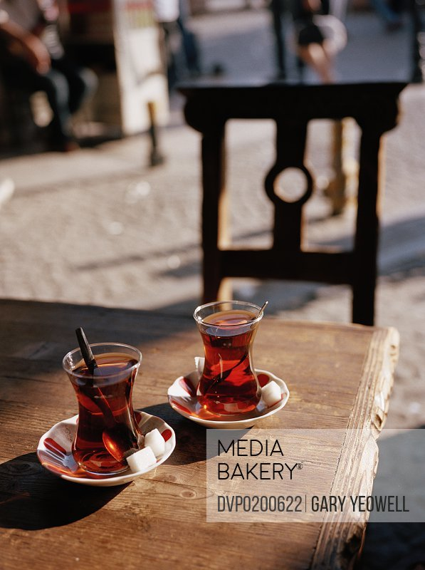 Two glasses of Turkish Tea on a table