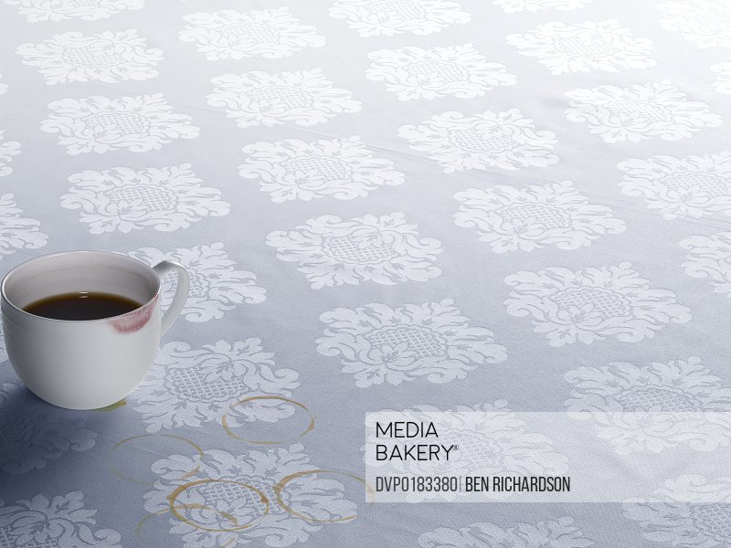 Coffee stains on tablecloth