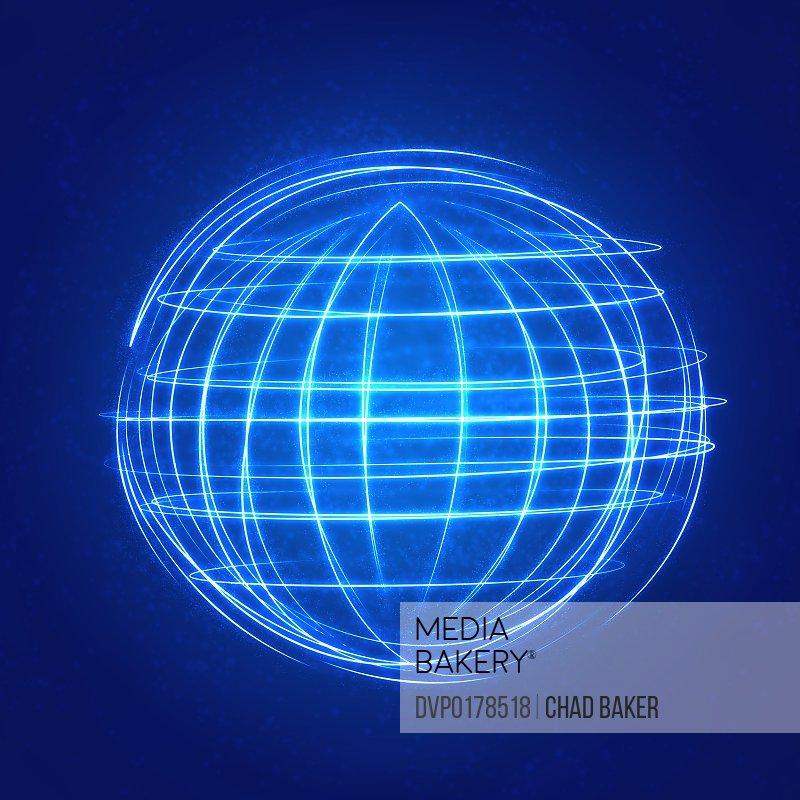 Glowing globe from arcs of light