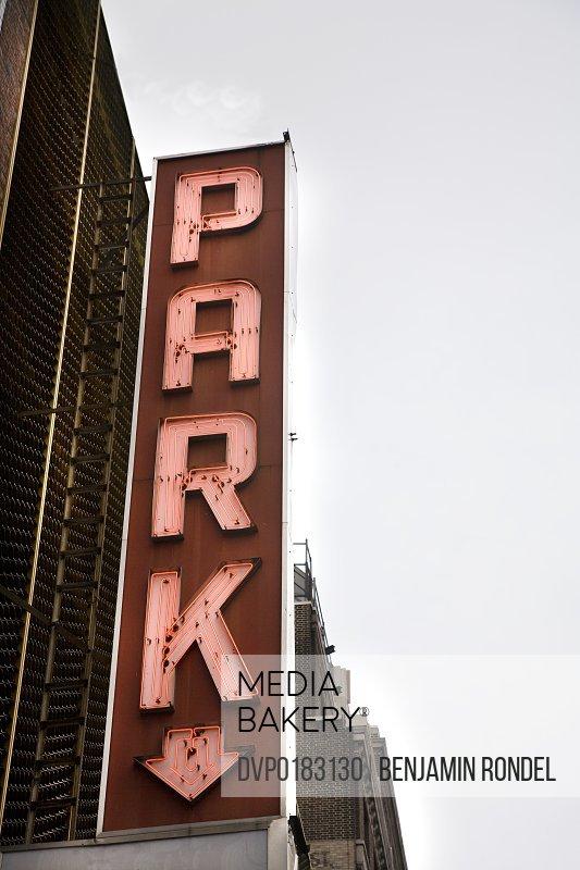 Sign on public parking garage
