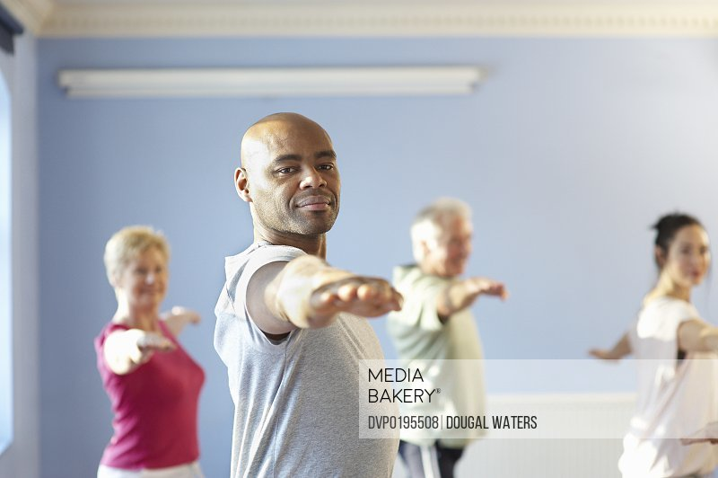 Man in exercise group