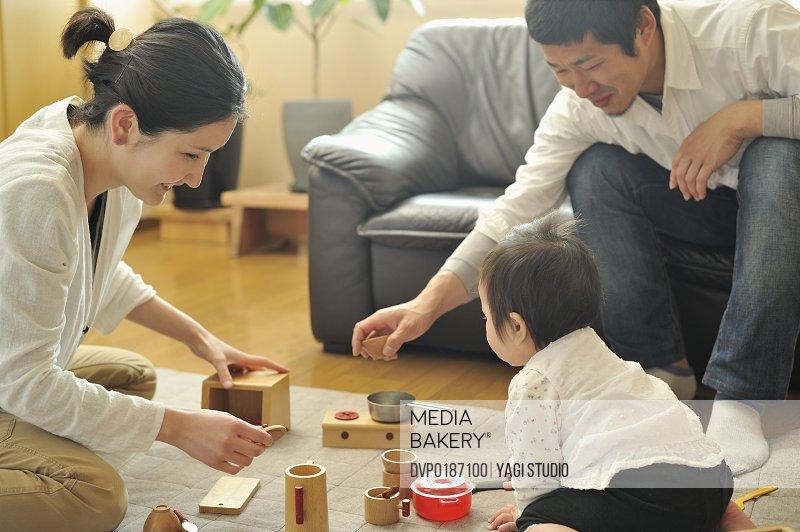 Family enjoying day in the room Japan