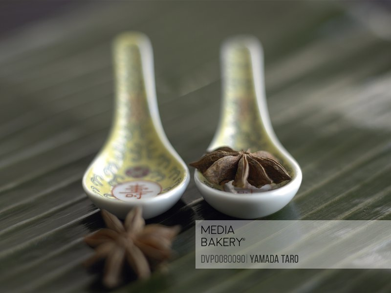 Star anise with spoons