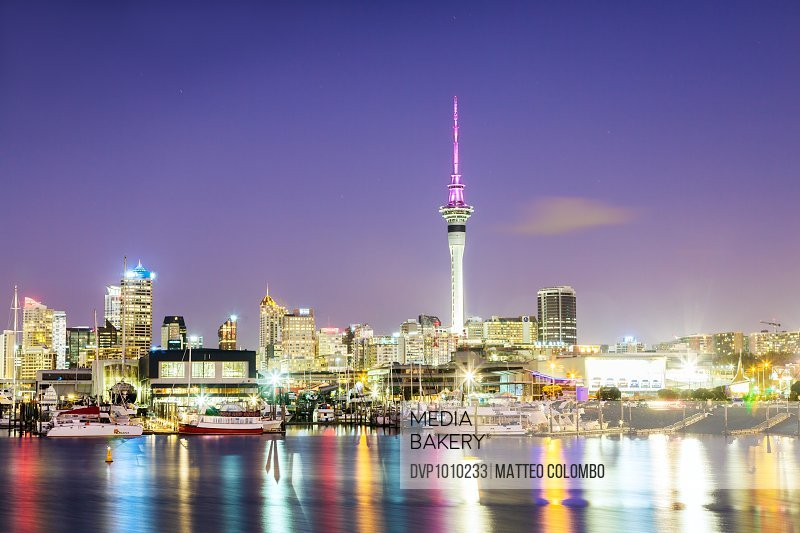 Auckland city and harbour at dawn, North Island, New Zealand