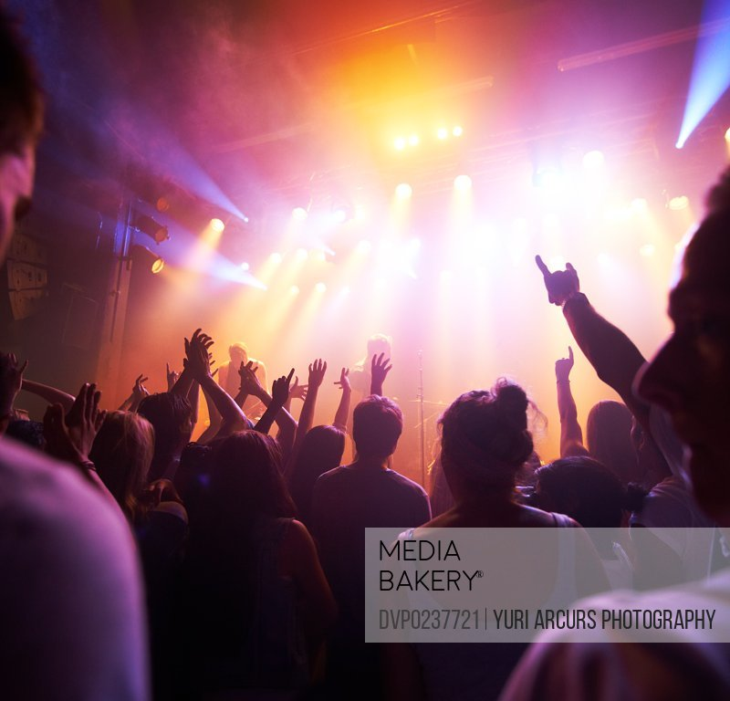 Rear view of a crowd cheering at a concert- This concert was created for the sole purpose of this photo shoot, featuring 300 models and 3 live bands. All people in this shoot are model released