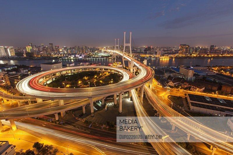 Night aerial view of Nanpu Bridge