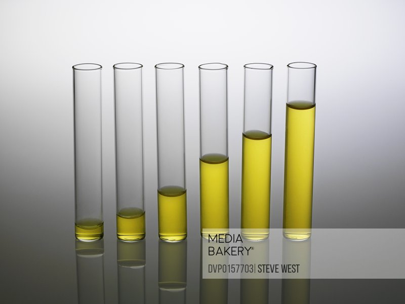 A row of test-tubes with yellow liquid depicted as a graph