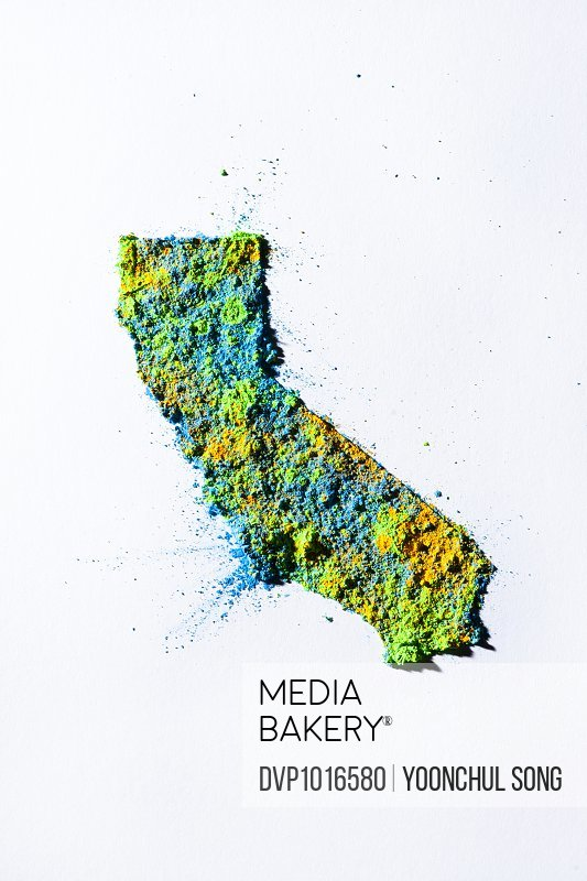 Map of California, USA with colored powder